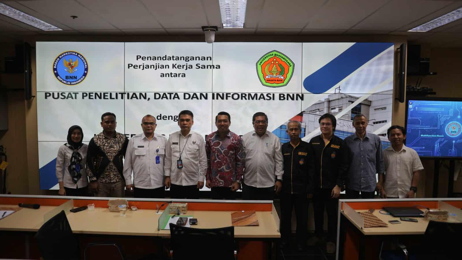 Penandatanganan PKS antara Puslitdatin BNN dengan Fakultas Ilmu Komunikasi UNBHARA